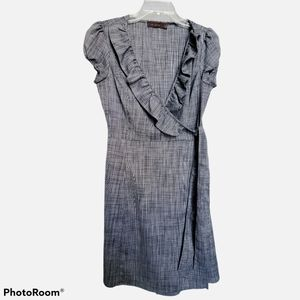 The Limited grey tweed ruffle neck wrap dress